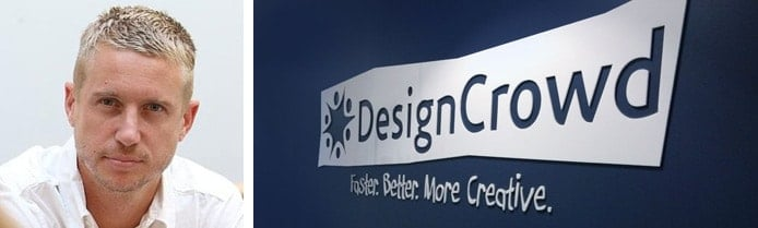 Portrait of Alec Lynch next to DesignCrowd logo in their office