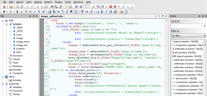 Screenshot of CodeLobster IDE interface
