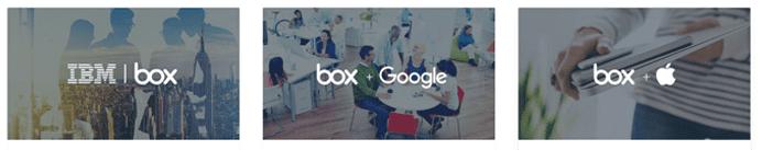 Screenshot of Box integration partners