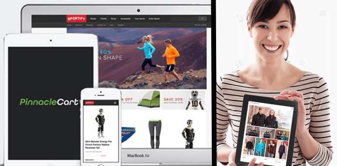 Collage of devices showing PinnacleCart eCommerce sites and a woman holding a tablet