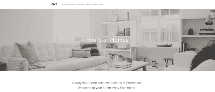 Screenshot of Squarespace's Five template