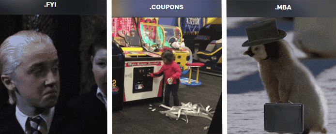 Collage of Harry Potter character Malfoy with .fyi TLD, child winning tickets with .coupons TLD, and a penguin chick with a tophat and briefcase with .mba TLD