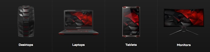 Collection of Acer Predator products