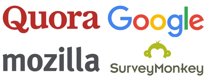 Collection of logos from Quora, Google, Mozilla, and SurveyMonkey