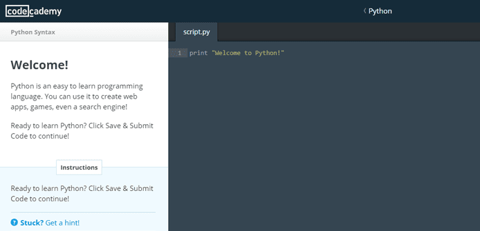 Screenshot of Python lessons on Codecademy