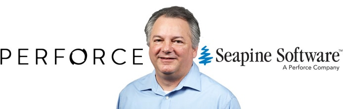Image of Perforce CTO Rick Riccetti with Seapine and Perforce logos