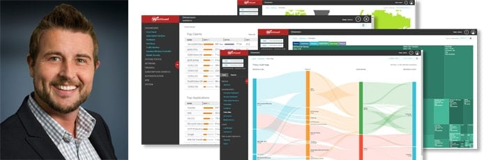 Portrait of CTO Corey Nachreiner and screenshots of WatchGuard interface