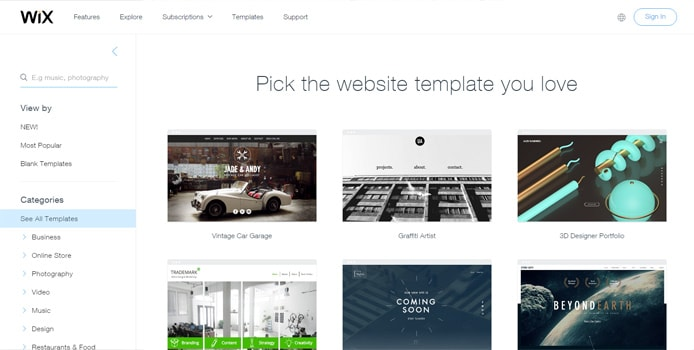Screenshot of Wix templates