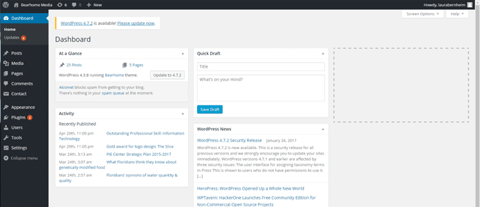 Screenshot of WordPress dashboard