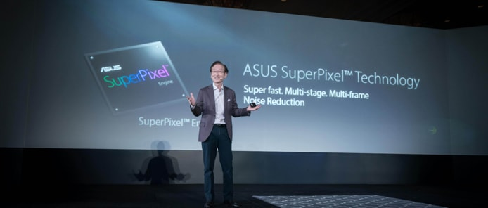 Photo of ASUS Chairman Jonney Shih on stage at CES 2017