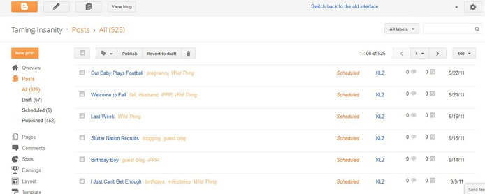Screenshot of Blogger interface