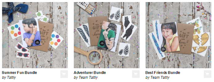 Screenshot of Shopify site Tattly's product offerings