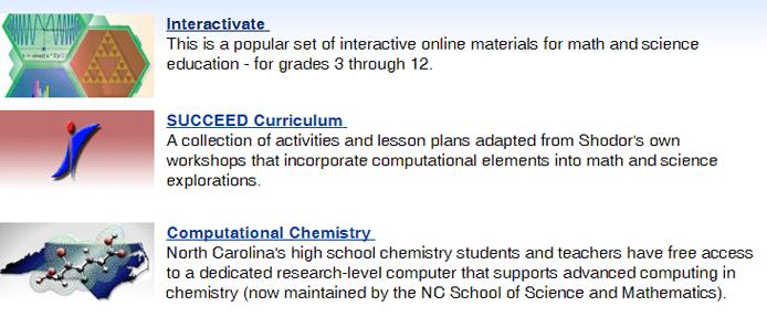 Screenshot of some of Shodor's educational resources