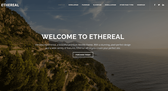 Screenshot of the Ethereal theme for Weebly
