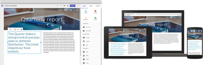 Screenshot and mockups of Google Sites