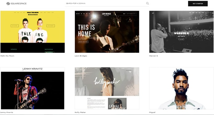 Screenshot of Squarespace templates