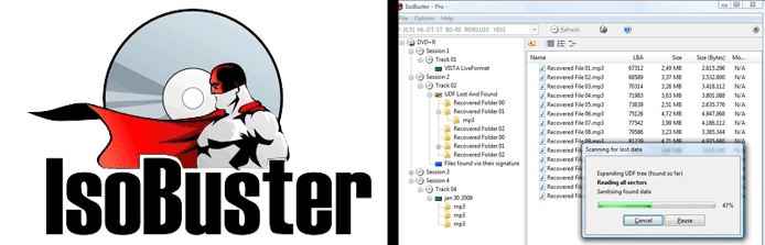 Collage of the IsoBuster logo and screenshot of the IsoBuster UI