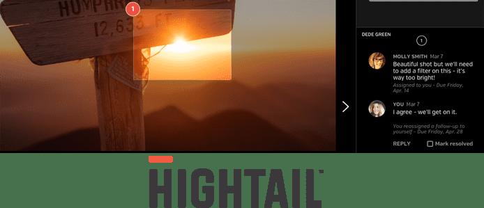 Screenshot of Hightail's user interface