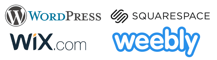 Collage of the WordPress, Wix, Squarespace, and Weebly logos