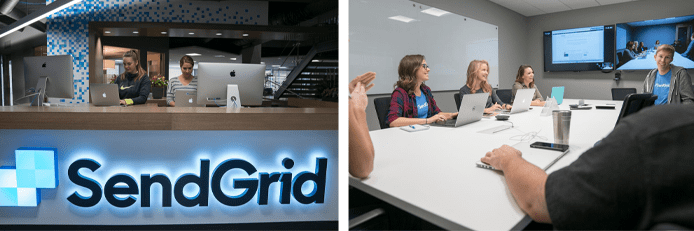 Photo collage of the SendGrid team at work in the office