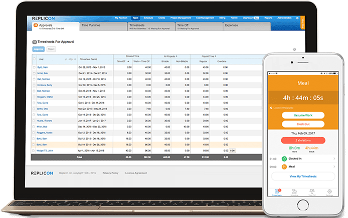 Screenshot of Replicon's time tracking user interface