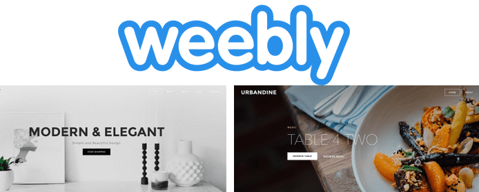 Screenshot of Weebly templates and the Weebly logo