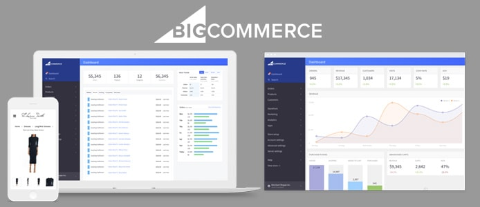 Screenshots of BigCommerce interface