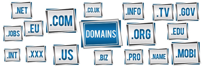 Domain name extensions graphic