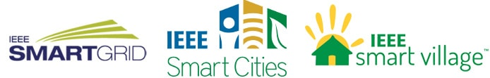 Logos for IEEE Smart Grid, Smart Cities, and Smart Village