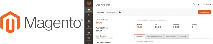 Magento logo and screenshot