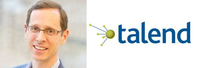 Portrait of Talend CEO Mike Tuchen with logo