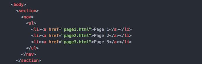 Screenshot of main navigation in HTML