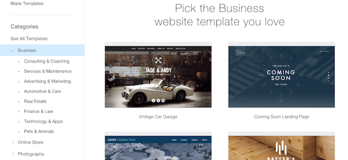Wix template library screenshot