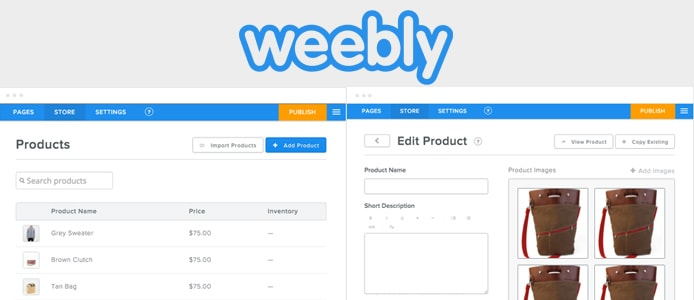 Weebly logo and screenshots