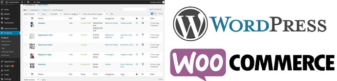 WordPress and WooCommerce logos with screenshot of interface