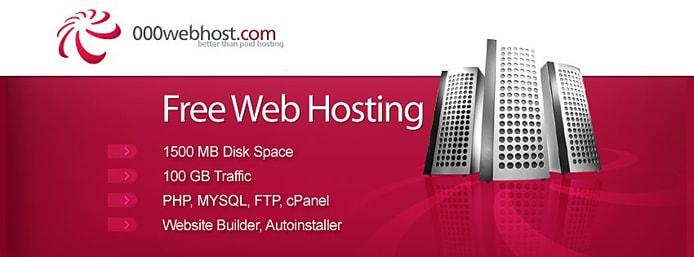 Screenshot of 000webhost features