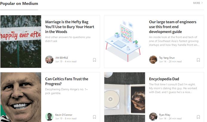 Screenshot of Medium's homepage