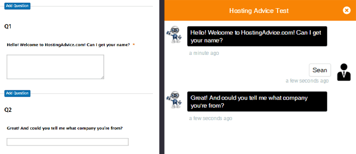 Screenshot of Conversational Forms backend and customer-facing form
