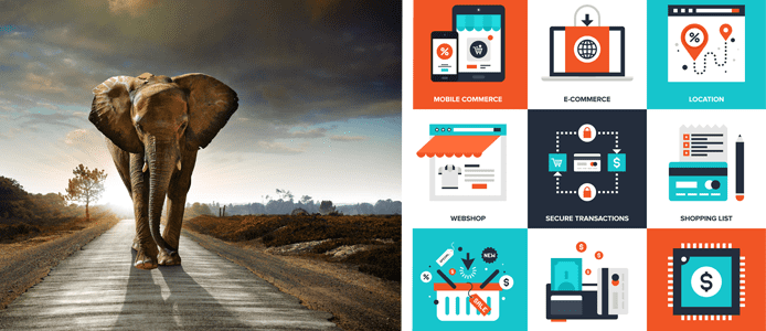 Collage of a picture of an elephant and multiple eCommerce buttons