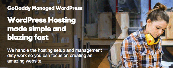 GoDaddy managed WordPress hosting promotion image