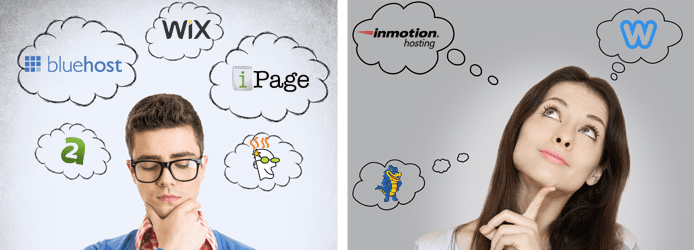 Collage of a man and women with thought bubbles containing host logos around their heads