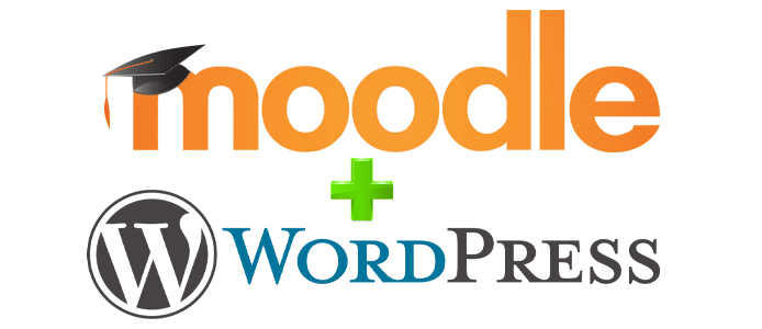Collage of Moodle and WordPress logos