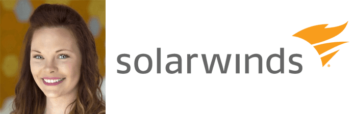 Head shot of Destiny Bertucci and SolarWinds logo