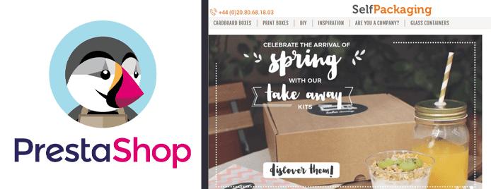 Collage of the PrestaShop logo and screenshot of SelfPackaging's website