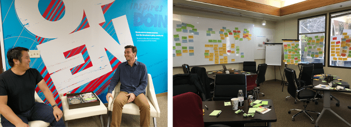 Collage of DNN team members and Post-It notes stuck to the walls after a brainstorming session