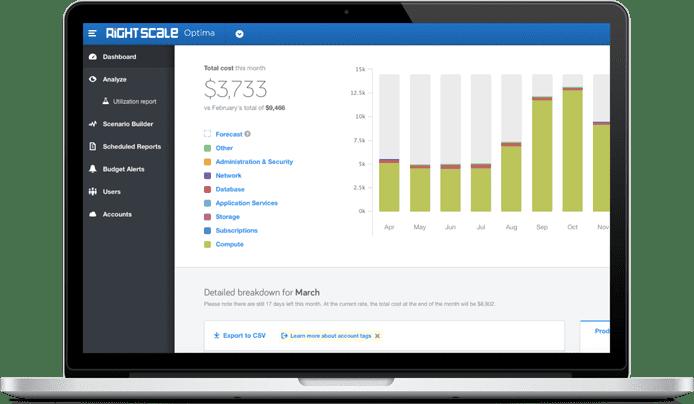 Screenshot of RightScale Optima's UI