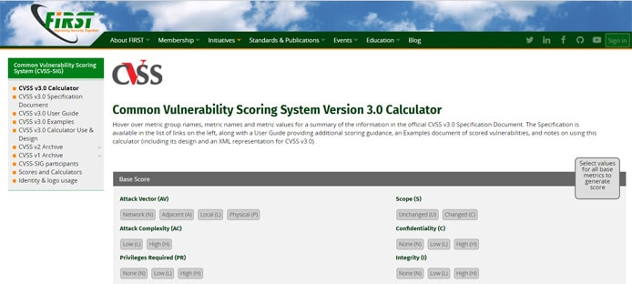 Screenshot of Common Vulnerability Scoring System calculator