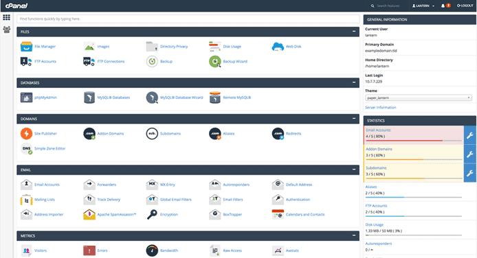 cPanel dashboard screenshot