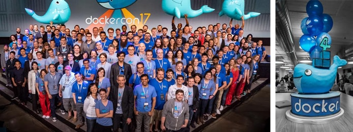 Pictures of Docker employees and cake