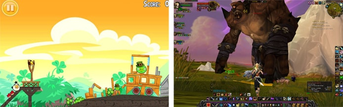 Screenshots of Angry Birds and World of Warcraft